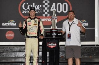 #20: Erik Jones, Joe Gibbs Racing, Toyota Camry buyatoyota.com Celebrates his win