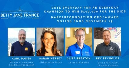 Finalists Announced for The NASCAR Foundation's 8th Annual Betty Jane France Humanitarian Award