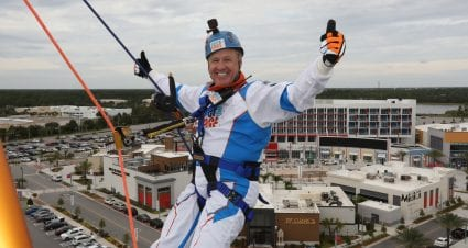 Who knew? Rusty Wallace and rappelling are a perfect fit