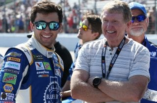 LOUDON, NH - SEPTEMBER 24:  NASCAR Hall of Famer Bill Elliott (C) talks with son Chase Elliott (L), driver of the #24 Kelley Blue Book Chevrolet, and Dale Earnhardt Jr. (R), driver of the #88 Nationwide Chevrolet, during pre-race ceremonies for the Monster Energy NASCAR Cup Series ISM Connect 300 at New Hampshire Motor Speedway on September 24, 2017 in Loudon, New Hampshire.  (Photo by Sean Gardner/Getty Images) | Getty Images
