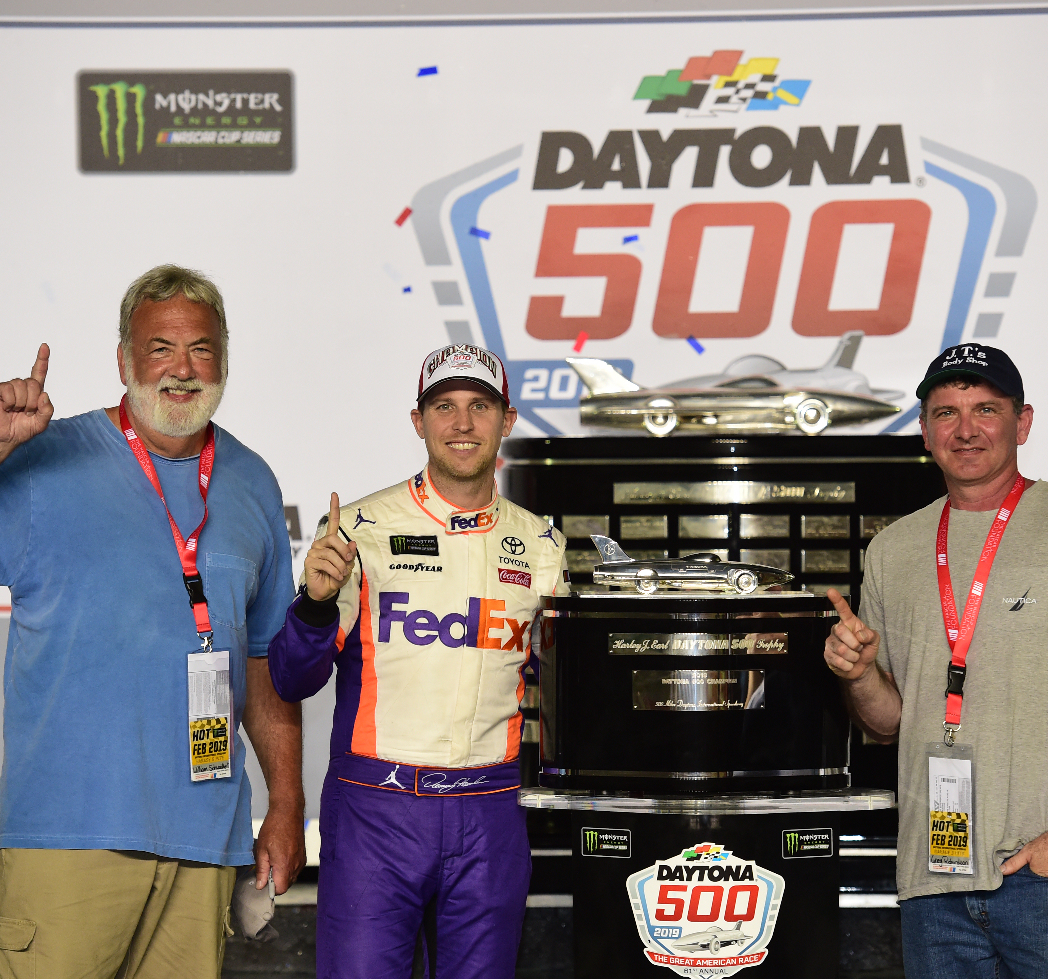 DAYTONA BEACH, FLORIDA - FEBRUARY 17: Denny Hamlin, driver of the #11 FedEx Toyota poses for a photo after winning in Victory Lane at Daytona International Speedway on February 17, 2019 in Daytona Beach, Florida. (Photo by Jared C. Tilton/Getty Images) | Getty Images
